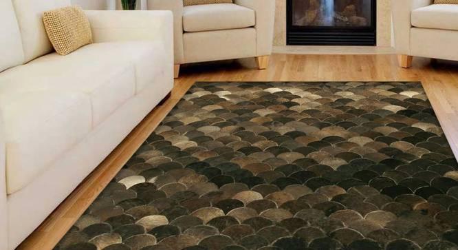 "Curvy Rug (Rectangle Carpet Shape, 122 x 183 cm  (48"" x 72"") Carpet Size, Dark Brown) by Urban Ladder - Design 1 Full View - 350413"