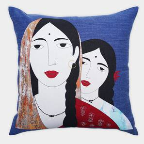 """Dylan Cushion Cover (Navy, 45 x 45 cm  (18"""" X 18"""") Cushion Size) by Urban Ladder - Front View Design 1 - 350990"""
