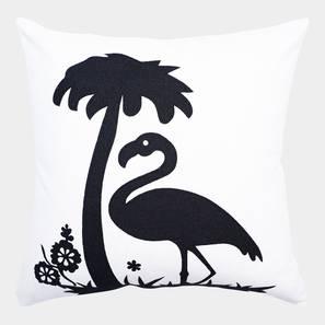 "Flamingo Cushion Cover (White, 35 x 35 cm  (14"" X 14"") Cushion Size) by Urban Ladder - Front View Design 1 - 351028"