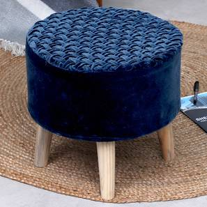 Cremona Foot Stool (Navy Blue, Round Shape) by Urban Ladder - Front View Design 1 - 351210