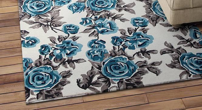 "Alina Carpet (Blue, Rectangle Carpet Shape, 244 x 152 cm  (96"" x 60"") Carpet Size) by Urban Ladder - Design 1 Half View - 351970"