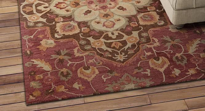 "Reese Carpet (Red, Rectangle Carpet Shape, 244 x 152 cm  (96"" x 60"") Carpet Size) by Urban Ladder - Design 1 Half View - 352084"
