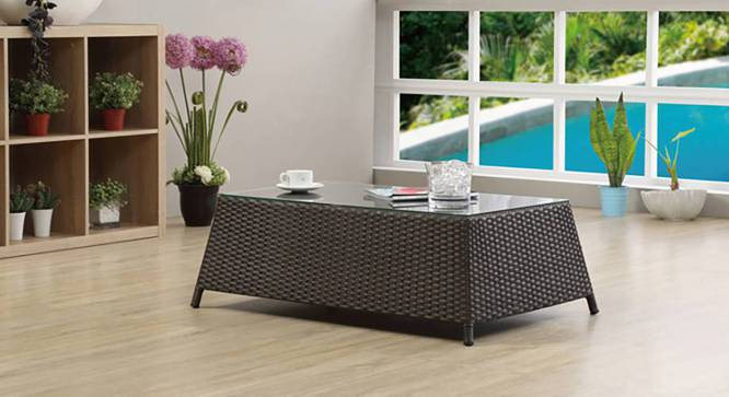 Samui Patio Table (Brown Finish) by Urban Ladder - Full View Design 1 -