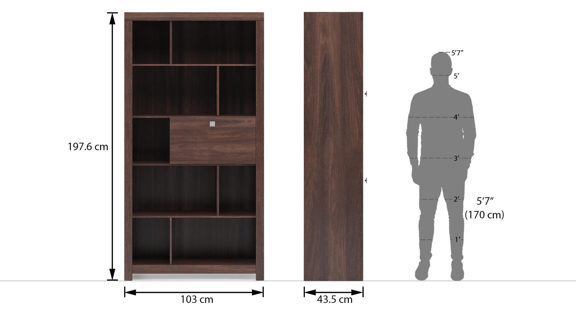 Theodore open display cabinet finish dark wenge dim1