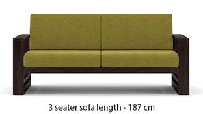 Parsons Wooden Sofa - American Walnut Finish (Green Olivia)