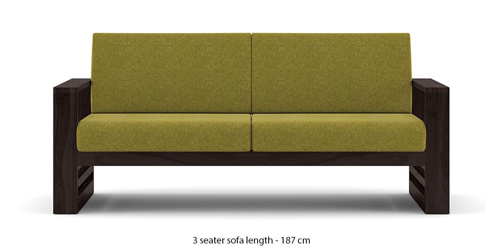 Parsons Wooden Sofa - American Walnut Finish (Green Olivia) by Urban Ladder - -