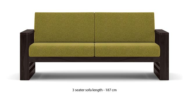 Parsons Wooden Sofa - American Walnut Finish (Green Olivia) (1-seater Custom Set - Sofas, None Standard Set - Sofas, American Walnut Finish, Fabric Sofa Material, Regular Sofa Size, Regular Sofa Type, Green Olivia)