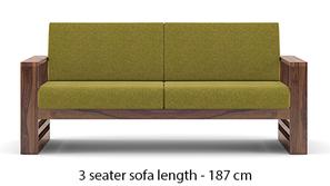 Parsons Wooden Sofa - Teak Finish (Green Olivia)
