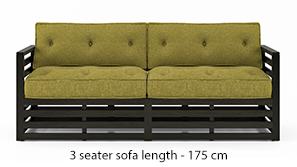 Raymond Wooden Sofa - American Walnut Finish (Green Olivia)