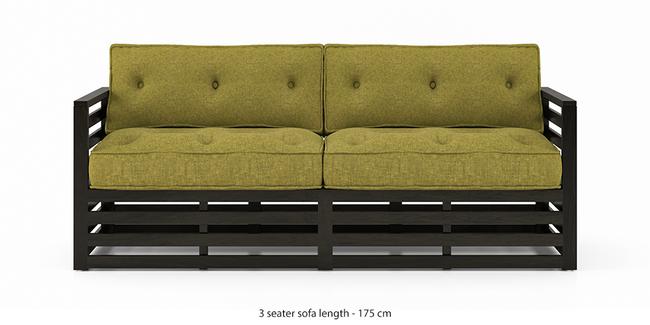 Raymond Wooden Sofa - American Walnut Finish (Green Olivia) (1-seater Custom Set - Sofas, None Standard Set - Sofas, American Walnut Finish, Fabric Sofa Material, Regular Sofa Size, Regular Sofa Type, Green Olivia)