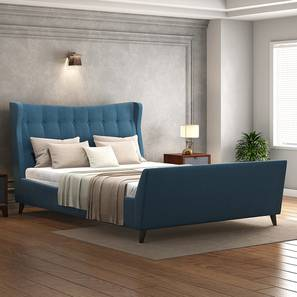 Belize Upholstered Bed Size - King Colour - BLUE (Blue, Queen Bed Size) by Urban Ladder - Design 1 Full View - 352352