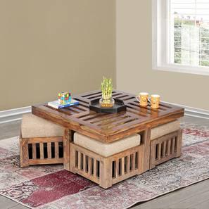 Blane Coffee Table Set - Jute Beige (Teak Finish, Jute Beige) by Urban Ladder - Cross View Design 1 - 357207