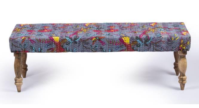 Cairo Bench - Bird Print Grey Kantha (Teak Finish, Bird Print Grey Kantha) by Urban Ladder - Front View Design 1 - 357229