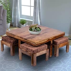 Dresden Coffee Table Set - Brown Sparkle Velvet (Teak Finish, Brown Sparkle Velvet) by Urban Ladder - Design 1 - 357381