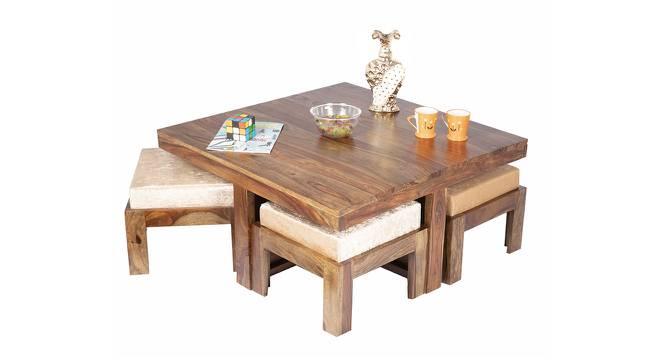 Friso Coffee Table Set - Velvet Cream (Teak Finish, Velvet Cream) by Urban Ladder - Cross View Design 1 - 357395