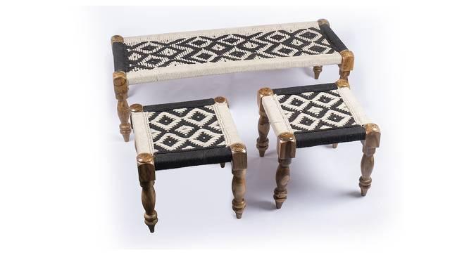 Hamilton Bench & Stool Set - Black & White (Teak Finish, Black & White) by Urban Ladder - Cross View Design 1 - 357400
