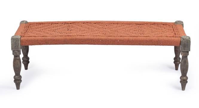 Hamilton Bench - Orange (Orange, Antique Grey Finish) by Urban Ladder - Front View Design 1 - 357412