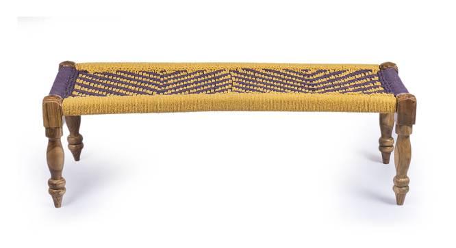 Hamilton Bench & Stool Set - Purple & Yellow (Teak Finish, Purple & Yellow) by Urban Ladder - Front View Design 1 - 357414