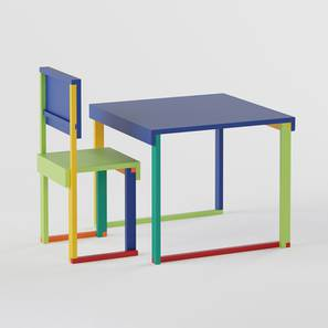 Technicolor  Study Table & Chair - Electric Blue (Electric Blue, Matte Finish) by Urban Ladder - Design 1 - 357930