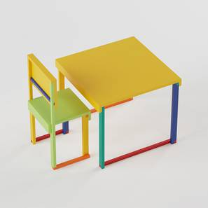 Technicolor  Study Table & Chair - Yellow (Yellow, Matte Finish) by Urban Ladder - Design 1 - 357942