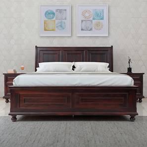 Alexander Queen Bed With Hydraulic Storage (Queen Bed Size, Dark Walnut Finish) by Urban Ladder - Design 1 - 358583