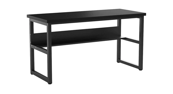 Niam Large Study Table - Black (Black, Wood Finish) by Urban Ladder - Front View Design 1 - 359439