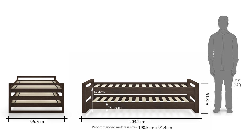 Yuri stackable bed solid wood dark walnut finish dim 91