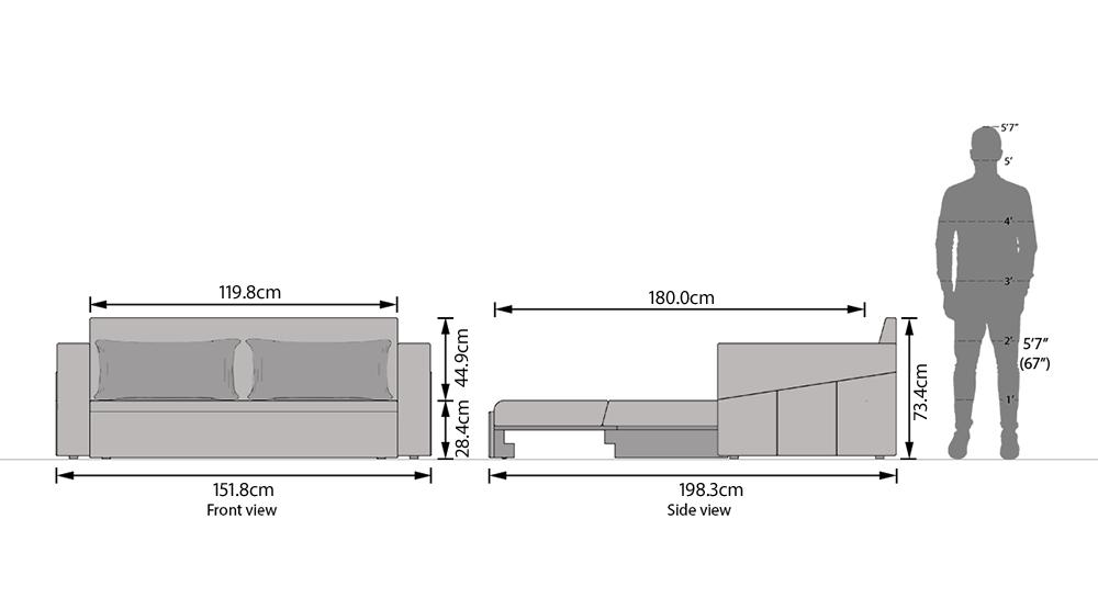 Camden compact sofa bed smoke 8