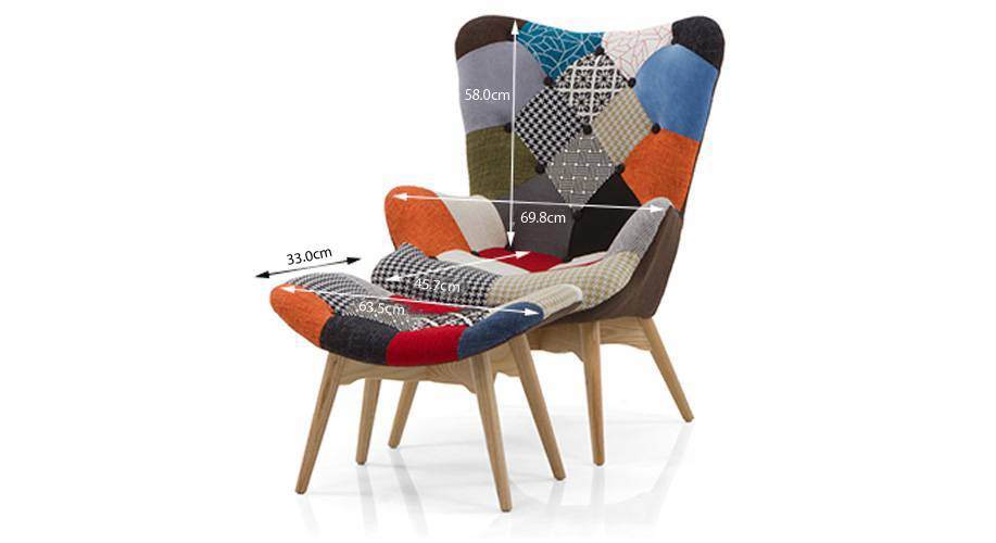 Contour chair ottoman replica patch work 10 11