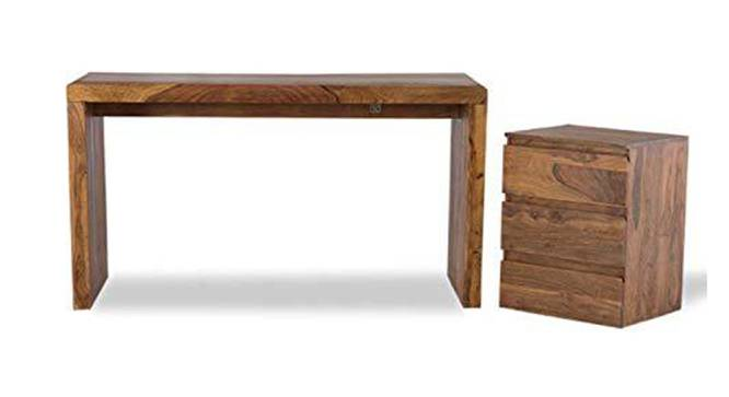 Margaret Study Table (Semi Gloss Finish, Rustic Teak) by Urban Ladder - Front View Design 1 - 360800