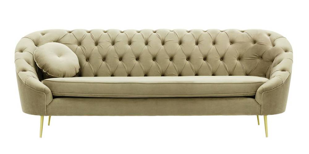 Claire Tufted Fabric Sofa (Beige Velvet) by Urban Ladder - -