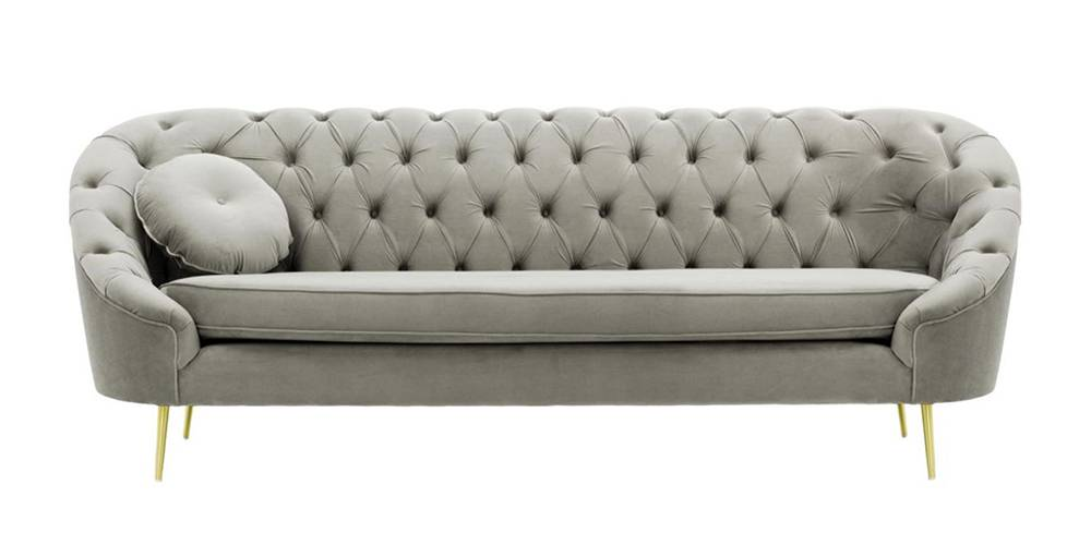 Claire Tufted Fabric Sofa (Silver Velvet) by Urban Ladder - -
