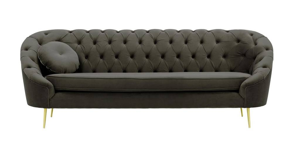 Claire Tufted Fabric Sofa (Graphite Grey Velvet) by Urban Ladder - -