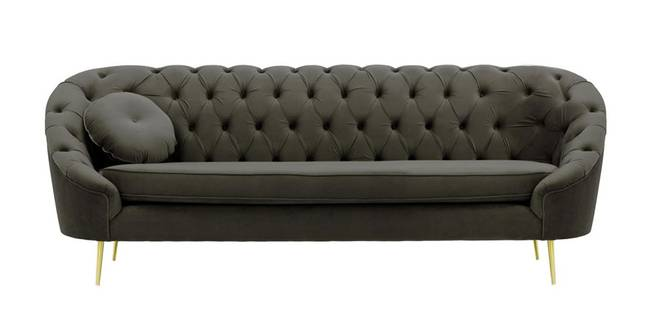 Claire Tufted Fabric Sofa (Graphite Grey Velvet) (1-seater Custom Set - Sofas, None Standard Set - Sofas, Fabric Sofa Material, Regular Sofa Size, Regular Sofa Type, Graphite Grey)