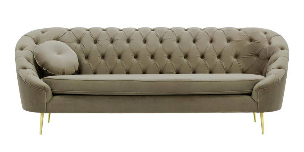Claire Tufted Fabric Sofa (Brown Velvet) by Urban Ladder - -