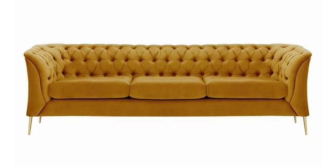 Corbyn Chesterfield Fabric Sofa - (Mustard Velvet) (1-seater Custom Set - Sofas, None Standard Set - Sofas, Mustard, Fabric Sofa Material, Regular Sofa Size, Regular Sofa Type)