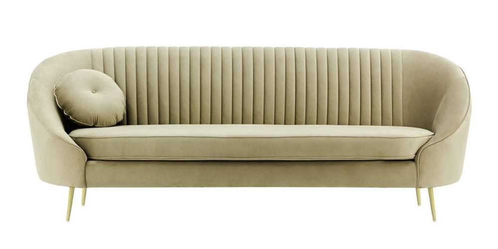 Mardella Fabric Sofa (Beige Velvet) by Urban Ladder - -