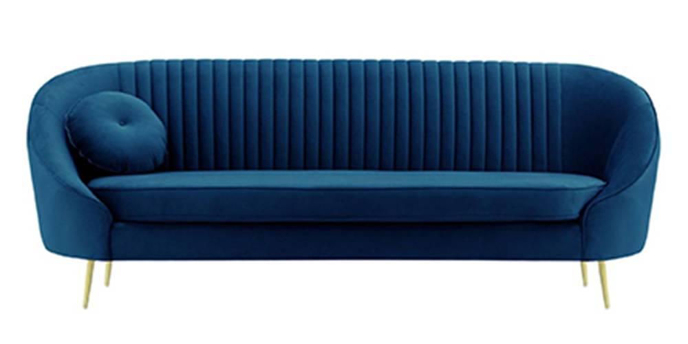 Mardella Fabric Sofa (Indigo Blue Velvet) by Urban Ladder - -