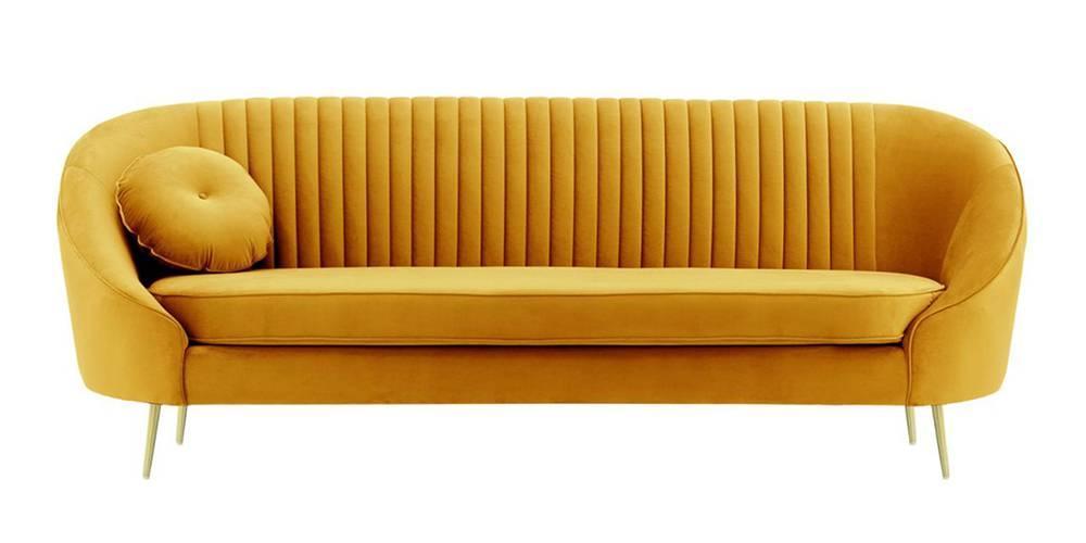 Mardella Fabric Sofa (Mustard Velvet) by Urban Ladder - -