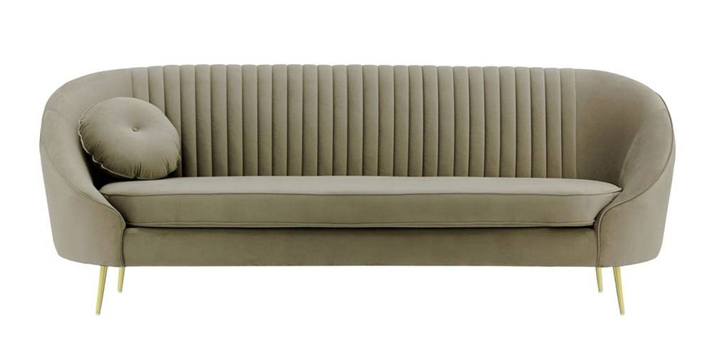 Mardella Fabric Sofa (Brown Velvet) by Urban Ladder - -
