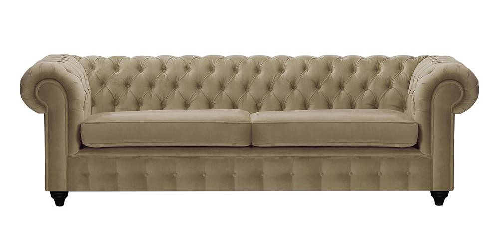 Mcduff Chesterfield Fabric Sofa (Beige Velvet) by Urban Ladder - -