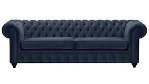 Mcduff Chesterfield Fabric Sofa (Indigo Blue Velvet)