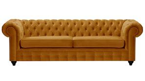 Mcduff Chesterfield Fabric Sofa (Mustard Velvet)