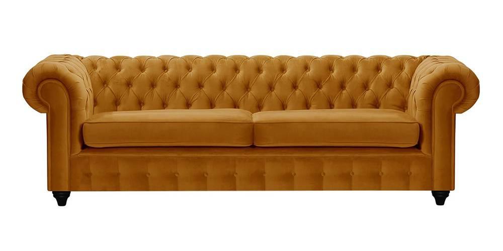 Mcduff Chesterfield Fabric Sofa (Mustard Velvet) by Urban Ladder - -