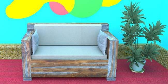 Augusta Wooden Sofa (Natural Grey) (2-seater Custom Set - Sofas, None Standard Set - Sofas, Natural, Fabric Sofa Material, Regular Sofa Size, Regular Sofa Type)
