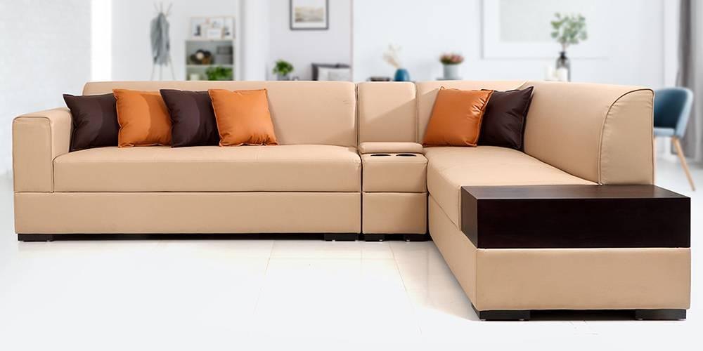 Alden Leathertte Sectional Sofa(Beige) by Urban Ladder - -