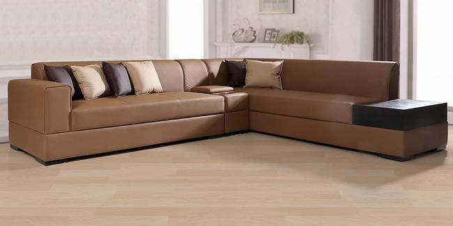 Alden Leathertte Sectional Sofa(Brown) (Brown, None Standard Set - Sofas, Fabric Sofa Material, Regular Sofa Size, Soft Cushion Type, Sectional Sofa Type, Right Sectional Sofa Custom Set - Sofas)