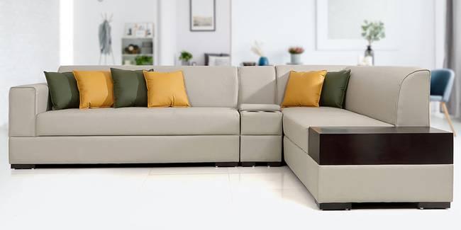 Alden Leathertte Sectional Sofa(Grey) (Grey, None Standard Set - Sofas, Fabric Sofa Material, Regular Sofa Size, Soft Cushion Type, Sectional Sofa Type, Right Sectional Sofa Custom Set - Sofas)