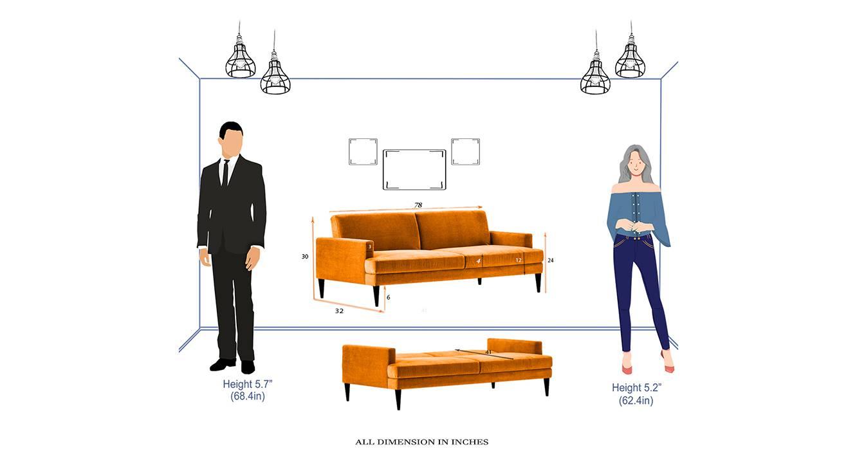 Zoya sofa cum bed orange 6