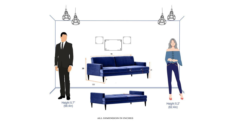 Zoya sofa cum bed royal blue 6